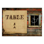 Rustic Barn Wood Wedding Table Number Stationery Note Card