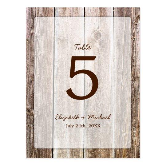 Rustic Barn Wood Wedding Table Number Postcard