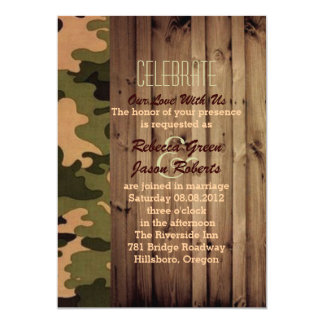 "rustic barn wood western country Camo Wedding 5"" X 7"" Invitation Card"