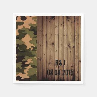 rustic barn wood western country Camo Wedding Paper Napkin