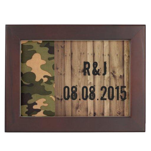 rustic barn wood western country Camo Wedding Keepsake Boxes