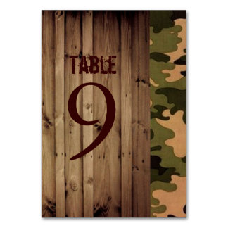 rustic barn wood western country Camo Wedding Table Cards