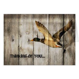 Rustic Barn wood Western Country flying Wild Duck Card