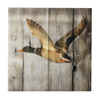 Rustic Barn wood Western Country flying Wild Duck Ceramic Tile