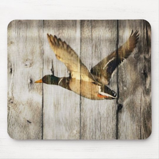 Rustic Barn wood Western Country flying Wild Duck Mouse Pad
