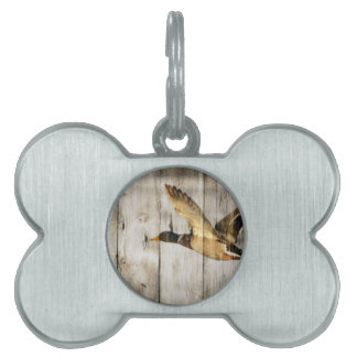 Rustic Barn wood Western Country flying Wild Duck Pet Tag