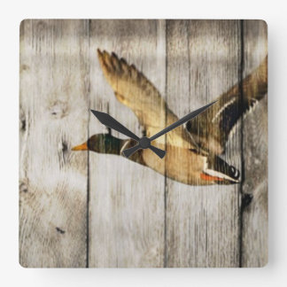 Rustic Barn wood Western Country flying Wild Duck Square Wall Clock
