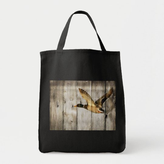 Rustic Barn wood Western Country flying Wild Duck Tote Bag