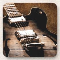 Rustic Barn Wood Western Country Music Guitar Beverage Coaster