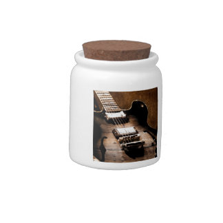 Rustic Barn Wood Western Country Music Guitar Candy Jar