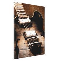 Rustic Barn Wood Western Country Music Guitar Canvas Print