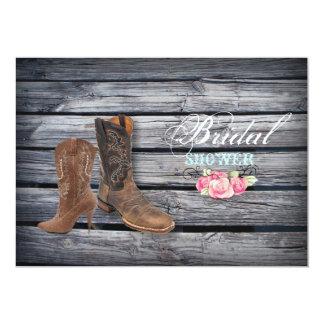 Rustic Barn Wood Western Cowboy bridal shower Card
