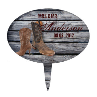 Rustic Barn Wood Western Cowboy wedding Cake Topper