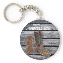 Rustic Barn Wood Western Cowboy wedding favor Keychain