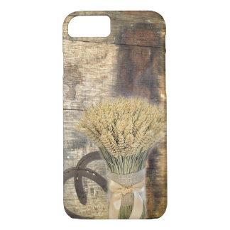 rustic barn wood wheat horseshoes western iPhone 7 case