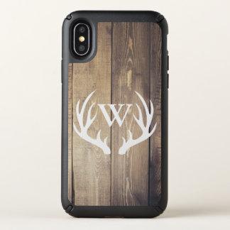 Rustic Barn Wood & White Deer Antlers Speck iPhone X Case