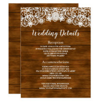 Rustic Barn Wood White Lace Wedding Details Invitation