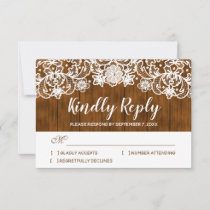 Rustic Barn Wood White Lace Wedding RSVP Card