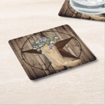 rustic barn wood wildflower cowboy western star square paper coaster