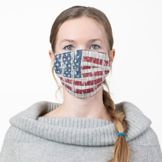 Rustic Barn Wood with American Flag Cloth Face Mask