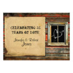 Rustic Barn Wood with Graffiti Heart Anniversary Announcement