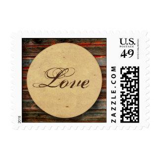 Rustic Barn Wood with Graffiti Heart Window Stamp