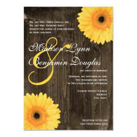 Rustic Barn Wood Yellow Daisy Wedding Invitations