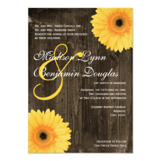 Rustic Barn Wood Yellow Daisy Wedding Invitations Custom Invites