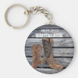 rustic barnwood Cowboy Boots Country wedding Key Chain