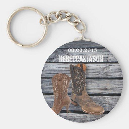 rustic barnwood Cowboy Boots Country wedding Key Chain