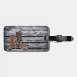 rustic barnwood Cowboy Boots Country wedding Tag For Luggage