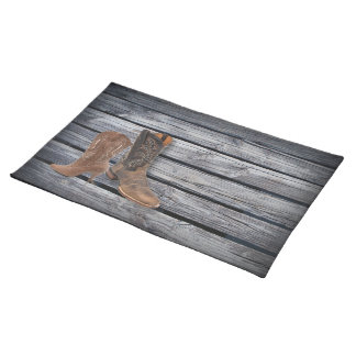rustic barnwood Cowboy Boots  Country wedding Cloth Placemat