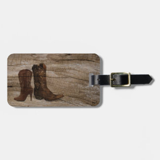 Rustic barnwood cowboy boots western country luggage tag