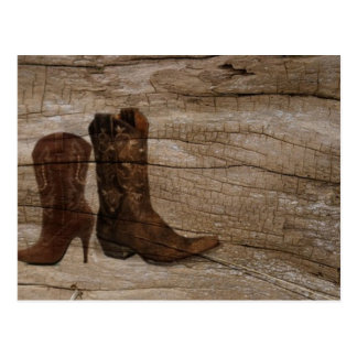 Rustic barnwood cowboy boots western country post card