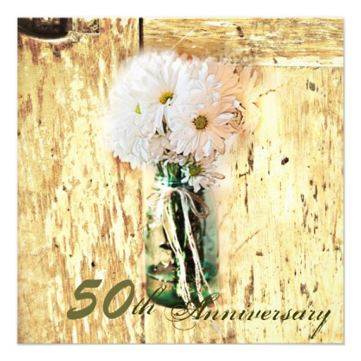 rustic barnwood daisy 50th anniversary personalized announcements