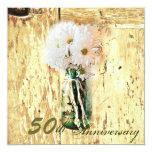 rustic barnwood daisy 50th anniversary 5.25x5.25 square paper invitation card