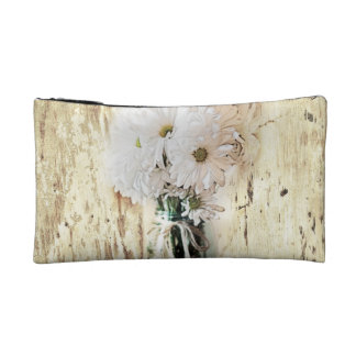 rustic barnwood daisy country bride cosmetic bags