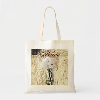 rustic barnwood daisy country bride budget tote bag