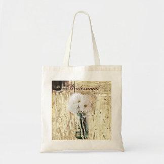 rustic barnwood daisy country bridesmaid budget tote bag