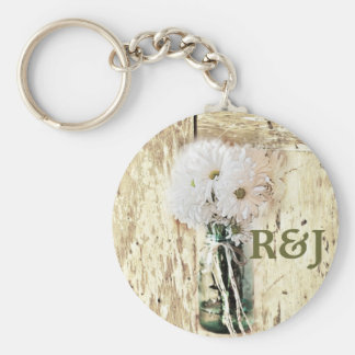 rustic barnwood daisy country save the date keychain