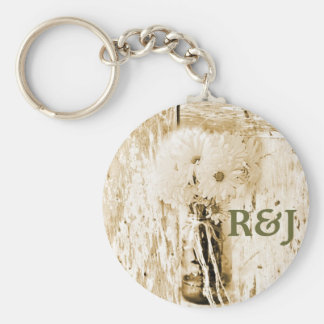 rustic barnwood daisy country save the date key chains