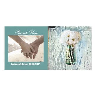 rustic barnwood daisy country wedding thank you custom photo card
