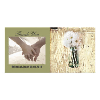 rustic barnwood daisy country wedding thank you photo cards