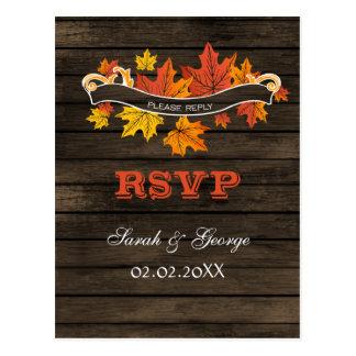 rustic barnwood fall wedding rsvp postcard