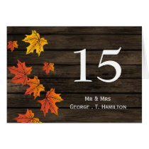 rustic barnwood fall wedding table Place Cards