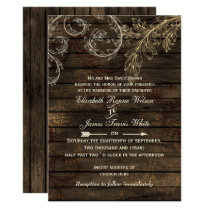 Rustic Barnwood, flourish wedding Card