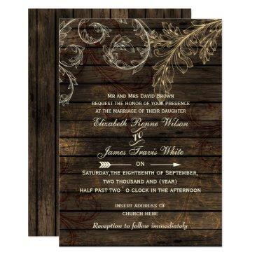 Rustic Barnwood, flourish wedding Card