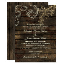 Rustic Barnwood, flourish wedding invites