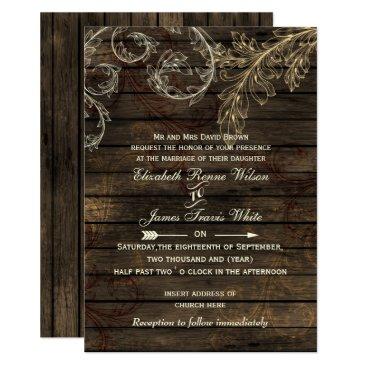 Rustic Barnwood, flourish wedding invites