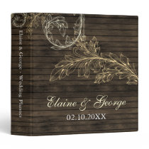 Rustic Barnwood Flourish Wedding Planner 3 Ring Binder